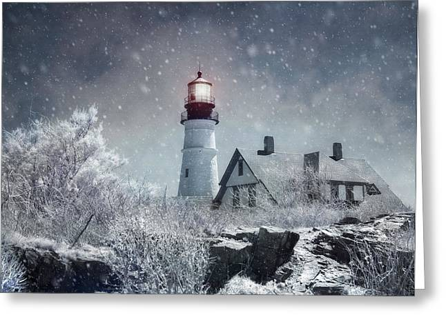 Winter In Maine Greeting Cards - Portland Head Lighthouse Snowstorm - Cape Elizabeth Maine Greeting Card by Joann Vitali