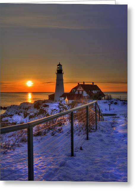 New England Winter Scene Greeting Cards - Portland Head Lighthouse Sunrise - Maine Greeting Card by Joann Vitali