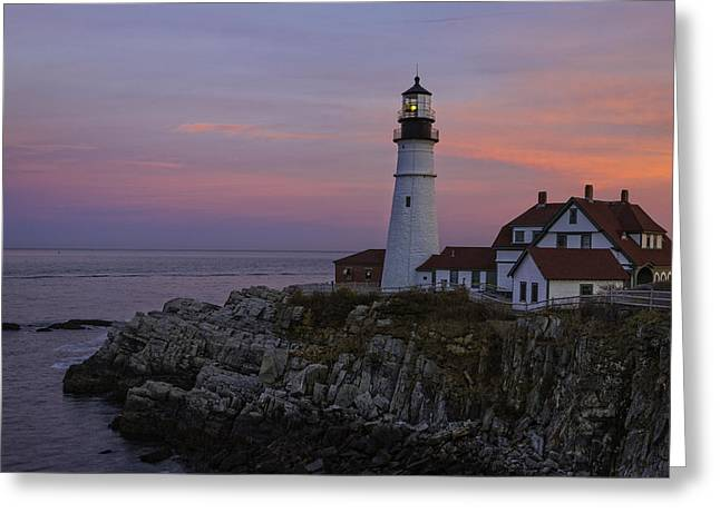 Maine Shore Greeting Cards - Portland Head Lighthouse Sunset Greeting Card by Dave Files