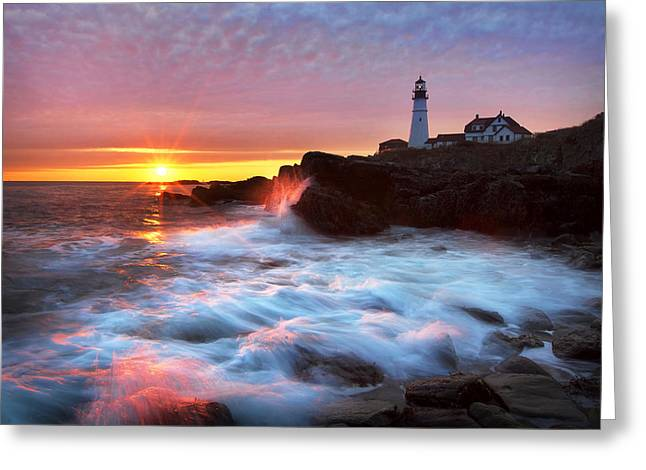 Maine Shore Greeting Cards - Portland Head Sunrise Greeting Card by Eric Gendron