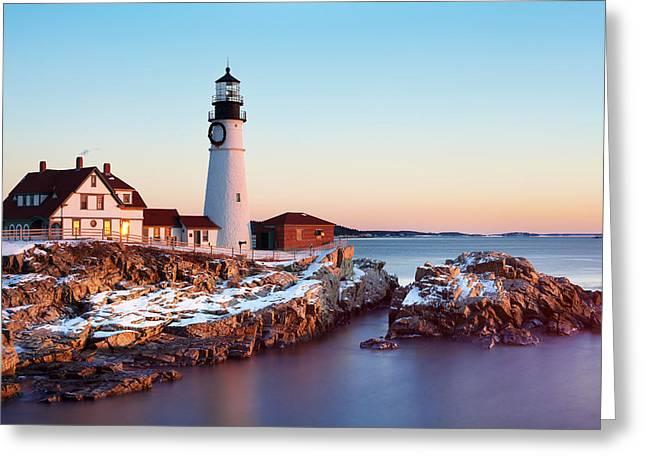 Portland Head Lighthouse Greeting Cards - Portland Head Winter Sunrise Greeting Card by Eric Gendron