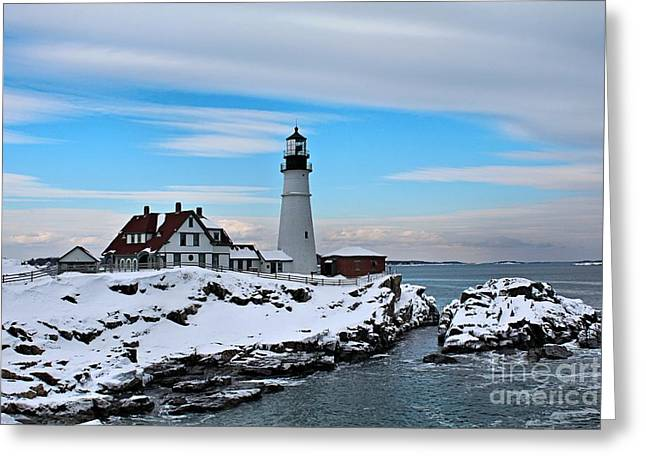 Winter In Maine Greeting Cards - Portland Head_9909 Greeting Card by Joseph Marquis