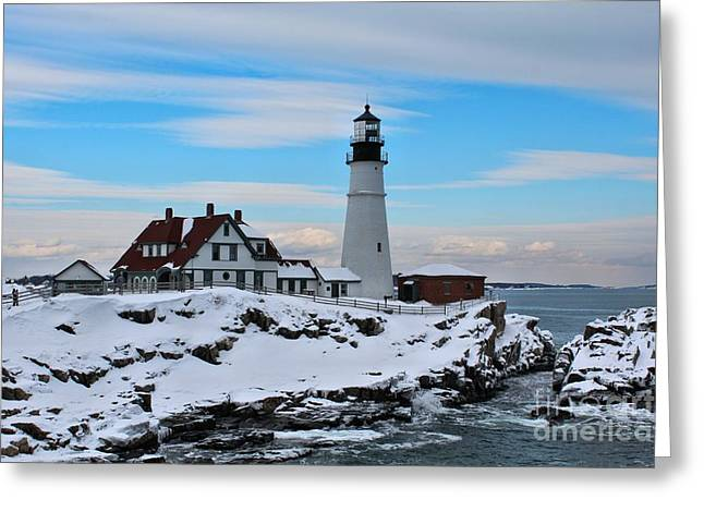 Winter In Maine Greeting Cards - Portland Head_9917 Greeting Card by Joseph Marquis