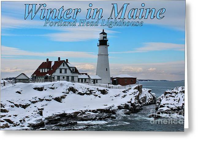 Winter In Maine Greeting Cards - Portland Head_9917a Greeting Card by Joseph Marquis