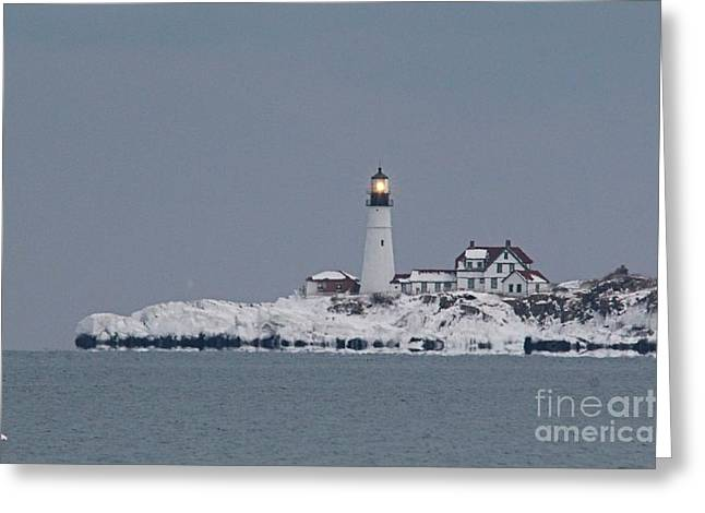 Winter In Maine Greeting Cards - Portland Head_9983 Greeting Card by Joseph Marquis