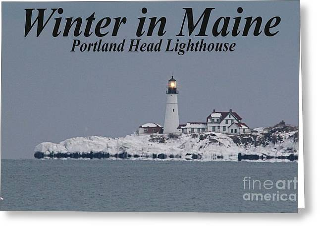 Winter In Maine Greeting Cards - Portland Head_9983a Greeting Card by Joseph Marquis