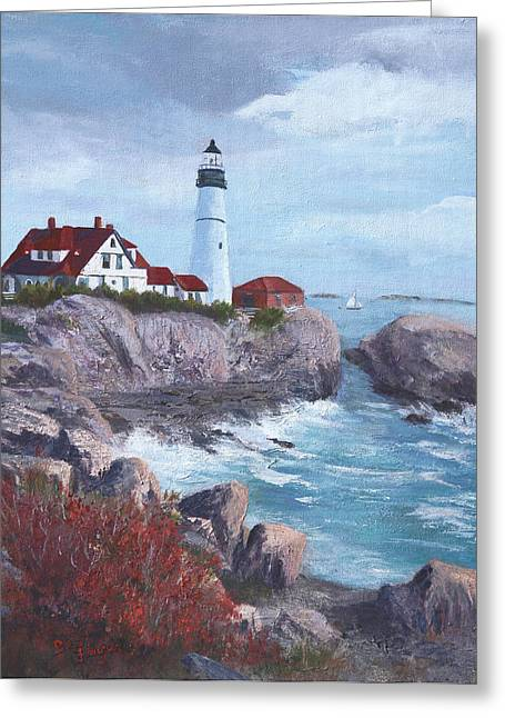 Maine Shore Paintings Greeting Cards - Portland Headlight in Maine Greeting Card by Bev Finger
