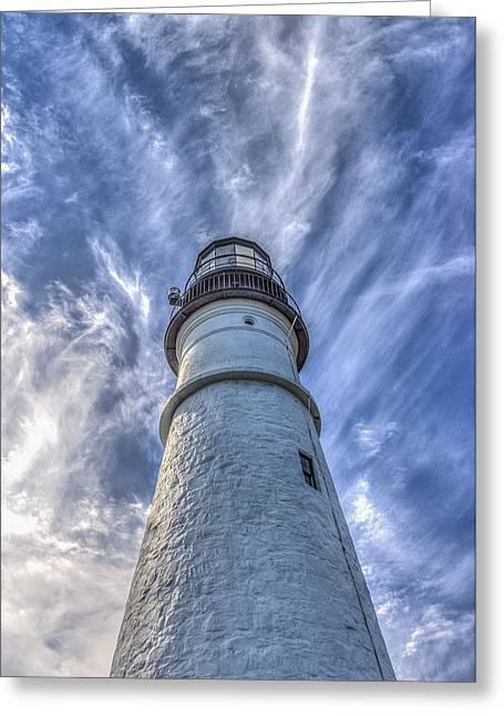 Maine Lighthouses Greeting Cards - Portland Headlight Greeting Card by Jane Luxton