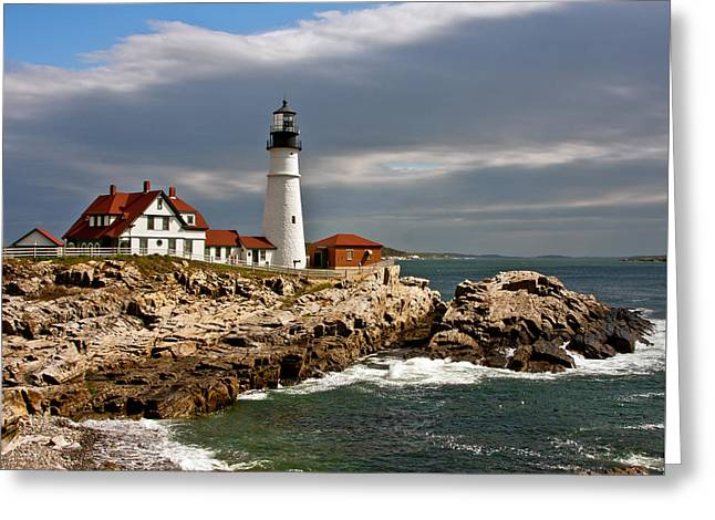 Maine Icons Greeting Cards - Portland Headlight Greeting Card by John Haldane
