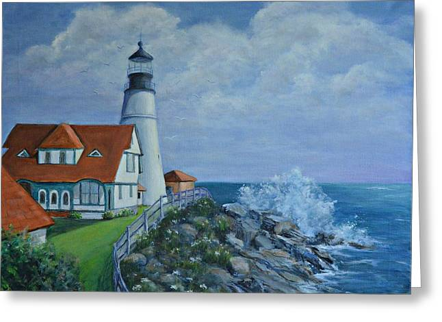 Old Maine Houses Greeting Cards - Portland Light House Greeting Card by Suely Cassiano