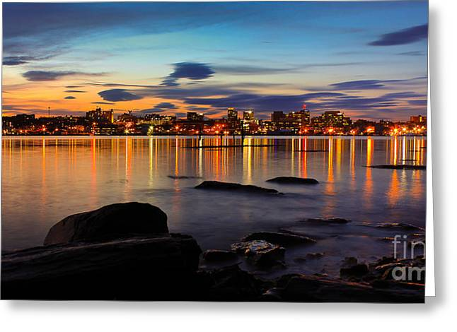 Twilight Greeting Cards - Portland Maine Greeting Card by Benjamin Williamson