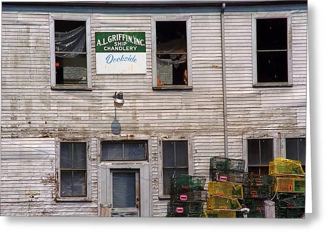 Old Maine Houses Greeting Cards - Portland Maine - Dockside Fishing Shack Greeting Card by Frank Romeo