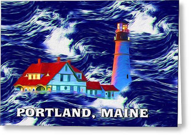 Maine Lighthouses Mixed Media Greeting Cards - Portland Maine Greeting Card by John Haldane