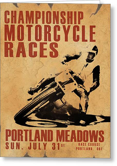 Motorcycles Greeting Cards - Portland Meadows Greeting Card by Mark Rogan