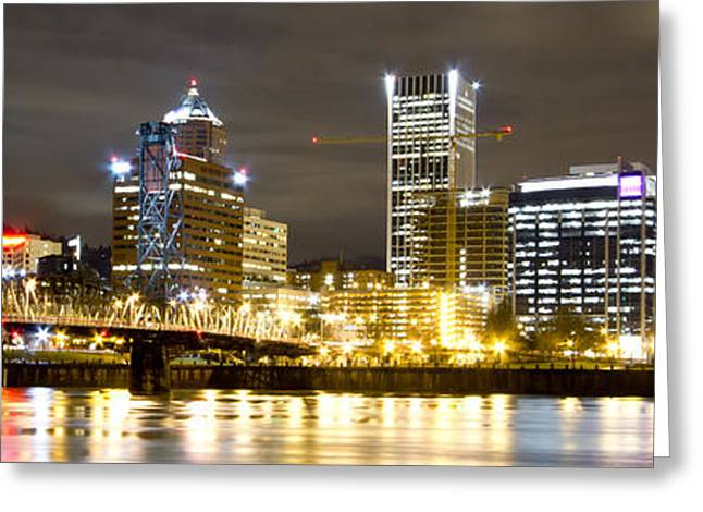 City Lights Greeting Cards - Portland Oregon City Lights Panoramic Greeting Card by Dustin K Ryan