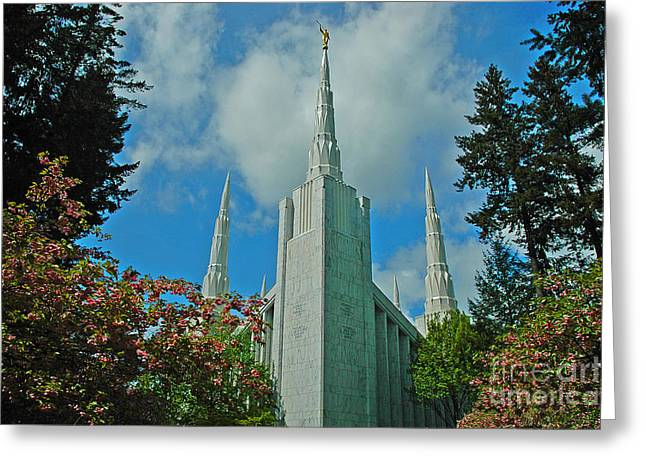 Boren Greeting Cards - Portland Oregon LDS Temple Greeting Card by Nick  Boren