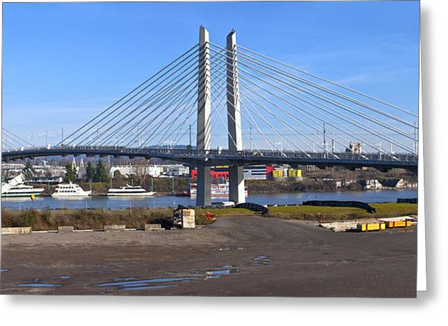 Work Area Greeting Cards - Portland Oregon Tilikum crossing and pedestrian bridge panorama. Greeting Card by Gino Rigucci
