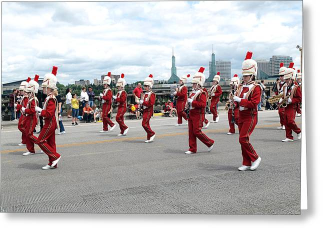 Marching Band Greeting Cards - Portland Oregon Rose festival parade. Greeting Card by Gino Rigucci