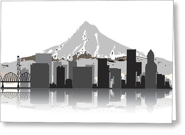 Portland Trail Blazers Digital Greeting Cards - Portland Oregon Skyline 2 Greeting Card by Daniel Hagerman