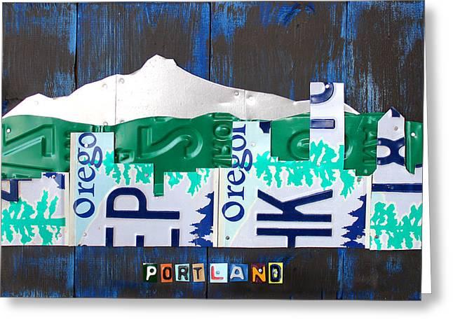 Portland Oregon Skyline License Plate Art Greeting Card by Design Turnpike