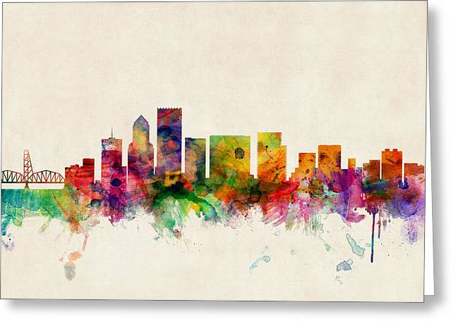 States Greeting Cards - Portland Oregon Skyline Greeting Card by Michael Tompsett