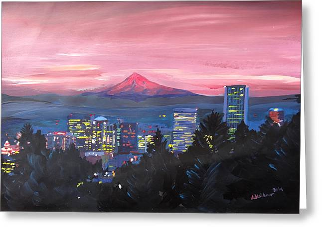 Recently Sold -  - Sunset Posters Greeting Cards - Portland Oregon with Red Mt Hood at Sunset Greeting Card by M Bleichner