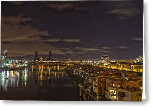 Portland Oregon Greeting Cards - Portland Panoramic Greeting Card by Jeremy Jensen