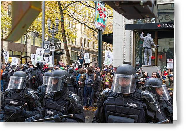 Police Baton Greeting Cards - Portland Police Controlling Occupy Portland Protesters in Downto Greeting Card by JPLDesigns