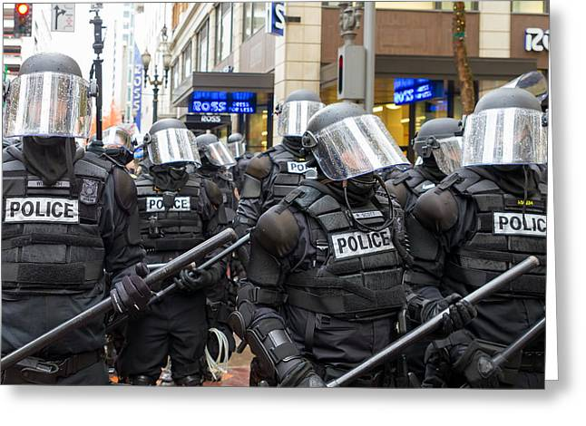 Police Baton Greeting Cards - Portland Police in Riot Gear Greeting Card by JPLDesigns