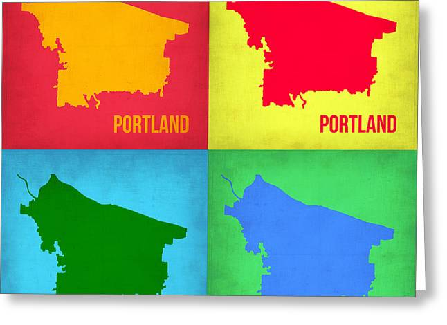 Portland Greeting Cards - Portland Pop Art Map 1 Greeting Card by Naxart Studio