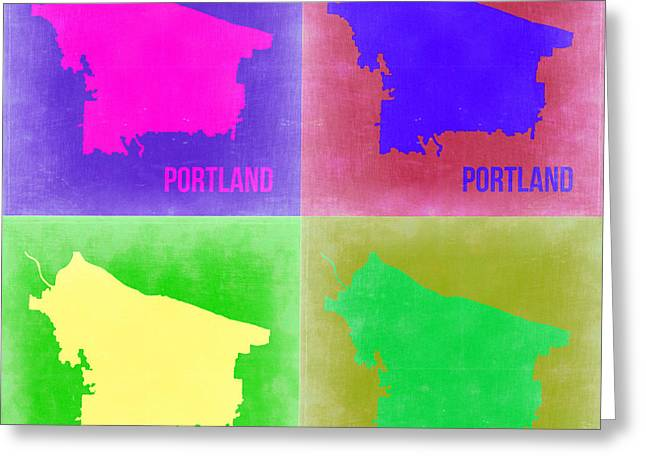 Portland Greeting Cards - Portland Pop Art Map 2 Greeting Card by Naxart Studio