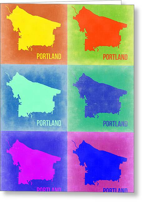 Portland Greeting Cards - Portland Pop Art Map 3 Greeting Card by Naxart Studio