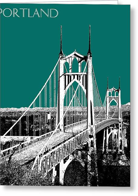 Architecture Digital Greeting Cards - Portland Skyline St. Johns Bridge - Sea Green Greeting Card by DB Artist