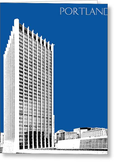 Portland Skyline Wells Fargo Building - Royal Blue Greeting Card by DB Artist