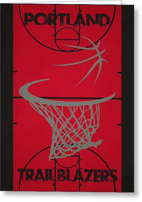 Recently Sold -  - Dunk Greeting Cards - Portland Trail Blazers Court Greeting Card by Joe Hamilton