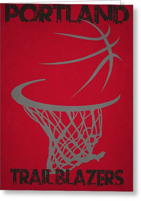 Nba Iphone Cases Greeting Cards - Portland Trail Blazers Hoop Greeting Card by Joe Hamilton