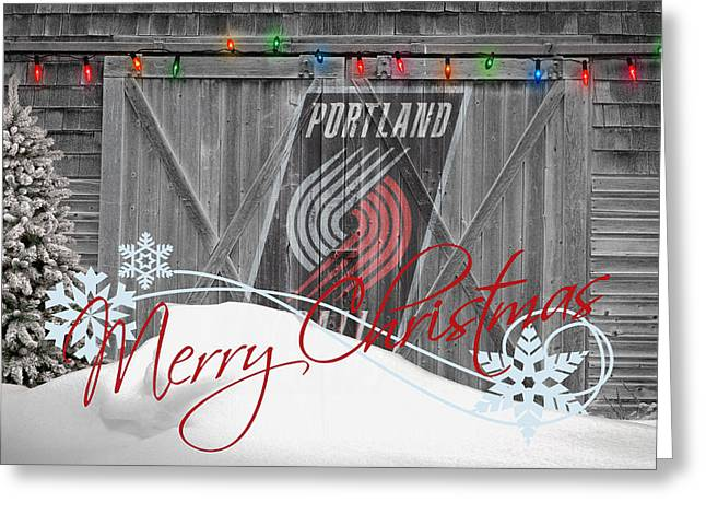 Dunk Greeting Cards - Portland Trailblazers Greeting Card by Joe Hamilton