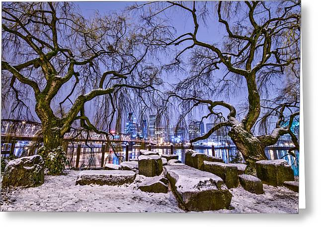 River Scenes Greeting Cards - Portland Twin Trees Greeting Card by Darren  White