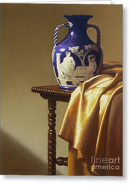Portland Vase With Cloth Greeting Card by Barbara Groff