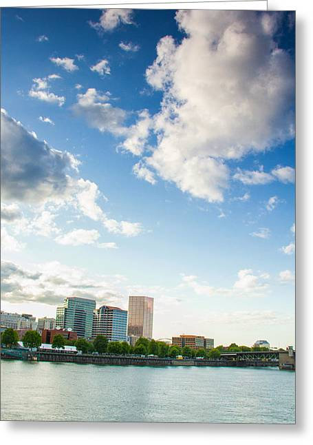 Downtown Portland Greeting Cards - Portland waterfront Greeting Card by Kunal Mehra