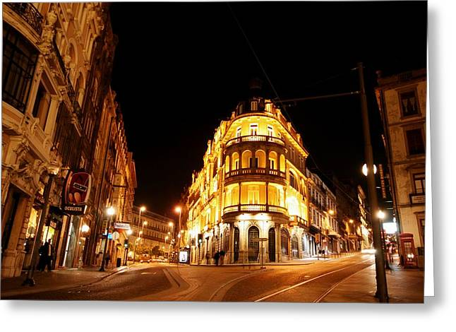 Streetview Greeting Cards - Porto Portugal at Night 1 AM Greeting Card by Jose Carlos Fernandes