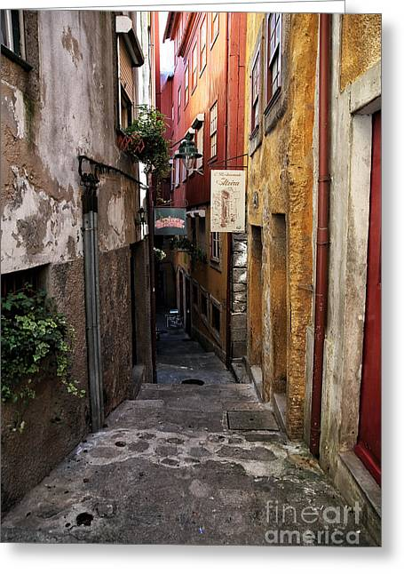 Red Buildings Greeting Cards - Porto Alley Colors Greeting Card by John Rizzuto