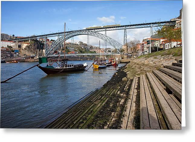 Wooden Steps Greeting Cards - Porto and Vila Nova de Gaia Cityscape Greeting Card by Artur Bogacki