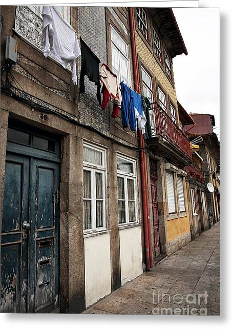 Hanging Laundry Greeting Cards - Porto Chic Greeting Card by John Rizzuto