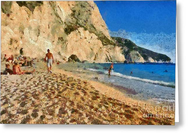 Porto Katsiki beach in Lefkada island Greeting Card by George Atsametakis