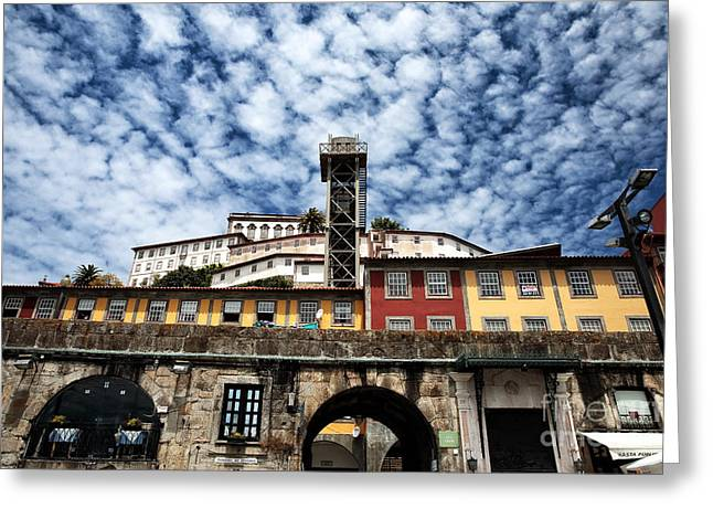 Red Buildings Greeting Cards - Porto Sky Greeting Card by John Rizzuto