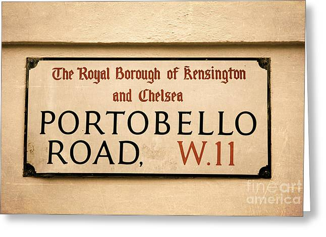 Chelsea Greeting Cards - Portobello Road sign on a Brick Facade of a Building Architectur Greeting Card by ELITE IMAGE photography By Chad McDermott