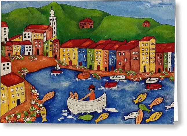 Portofino Italy Paintings Greeting Cards - Portofino Greeting Card by Annakie Jordaan