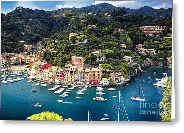 Portofino Italy Greeting Cards - Portofino Birds Eye View Greeting Card by George Oze