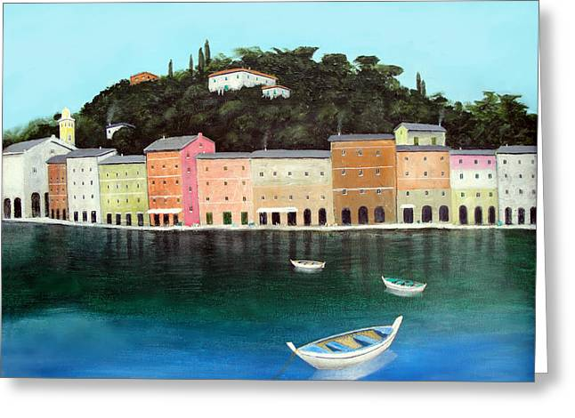 Larry Cirigliano Greeting Cards - Portofino By The Sea Greeting Card by Larry Cirigliano